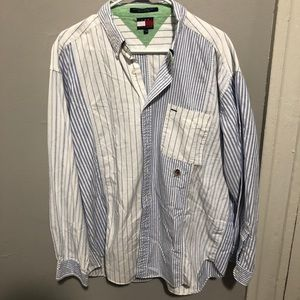 Tommy Hilfiger XL blue& white long sleeve buttonup